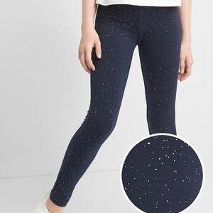 Gap girls blue navy sparkle leggings.